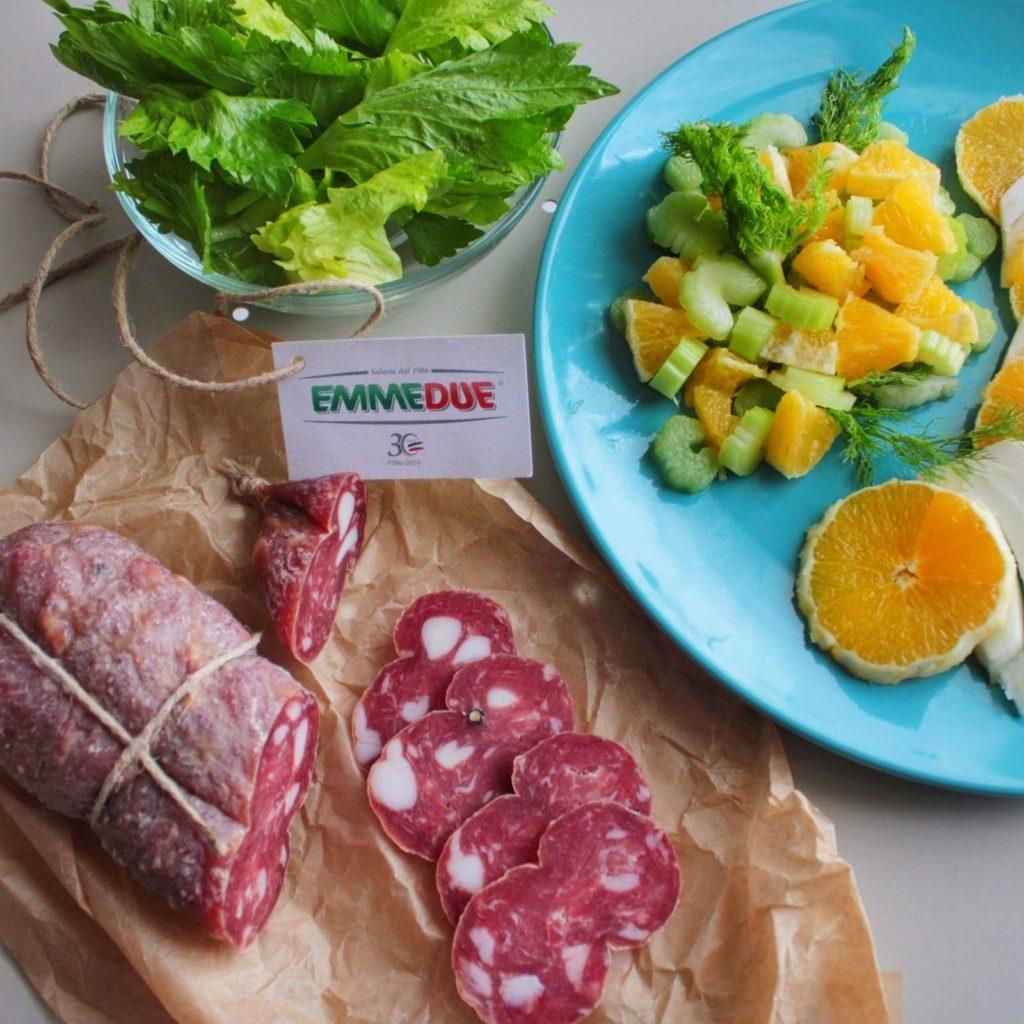 salame con frutta e verdura